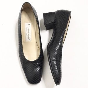 Etienne Aigner | Black Leather Croc-Skin Pumps